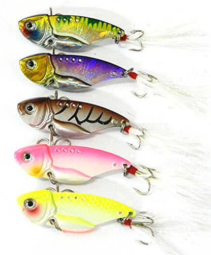 "Hengjia 5 Colors/lot Metal VIB Fishing Lure with Feather Hook Bass Crankbaits Hard Baits 5.5cm/2.17""/11g"