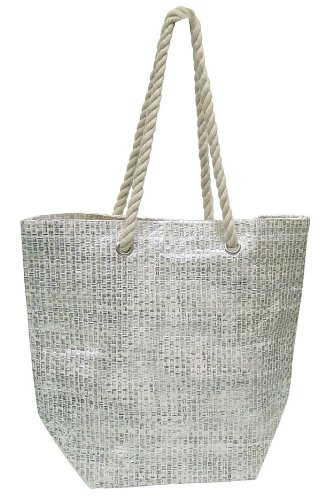 Luxury Eco-friendly Shopping College Woven Tote - Silver