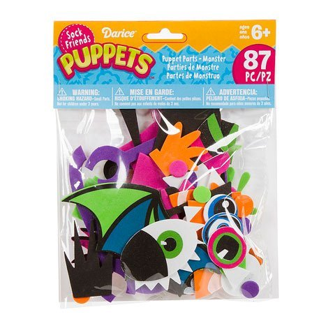 Darice SP300D 86-Pieces Sock Puppet Parts Craft Supplies, Monster Theme
