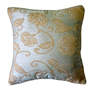 Amazoncom 24x24 teal blue and gold floral brocade for Blue and gold pillows