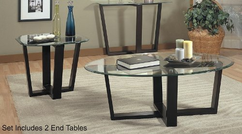 3PC Black Metal Base Oval Coffee Table & 2 Occasional Side/End Tables Set