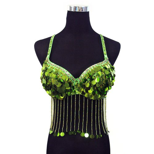 Professional Belly Dance Round Sequin Beaded Fringe Bra Top --Green 34A/B