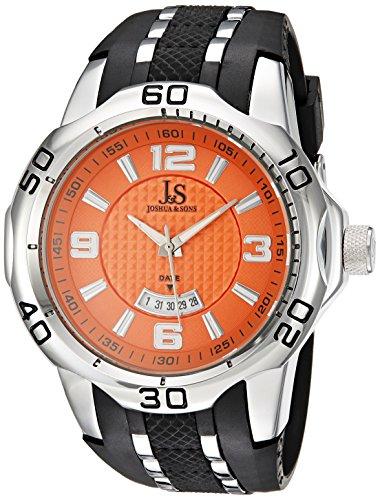 Joshua & Sons pulsera de aleación de reloj de cuarzo con Esfera Analógica Pantalla y el Multicolor de naranja para hombre jx110or
