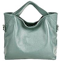 PASTE Women's Wrist Genuine Leather Totes/Shoulder Bag,Handbag Blue
