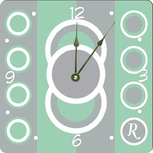 """Rikki Knighttm Letter R Monogrammed Initial Mint Green - Circle Designs - Spring Fashion Colors 2014 - Design 13"""" Art Wall Clock front-605234"""
