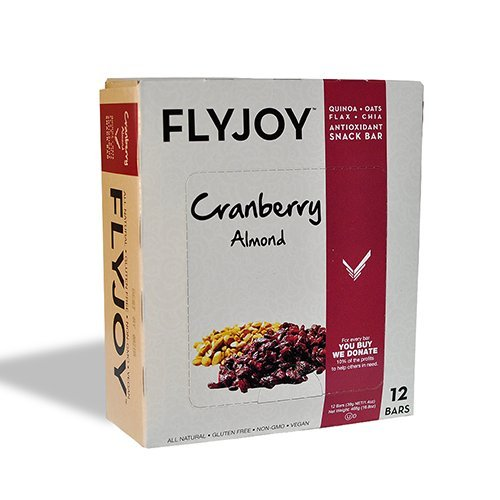 Flyjoy Nutritious Snack Bars | Quinoa + Oats + Flax + Chia - 12 Bars (Cranberry Almond)