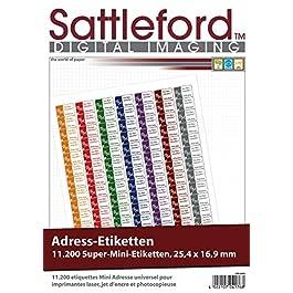 Sattleford lot de étiquettes super 11200 mini étiquettes 25,4 x 16,9 mm pour imprimante laser