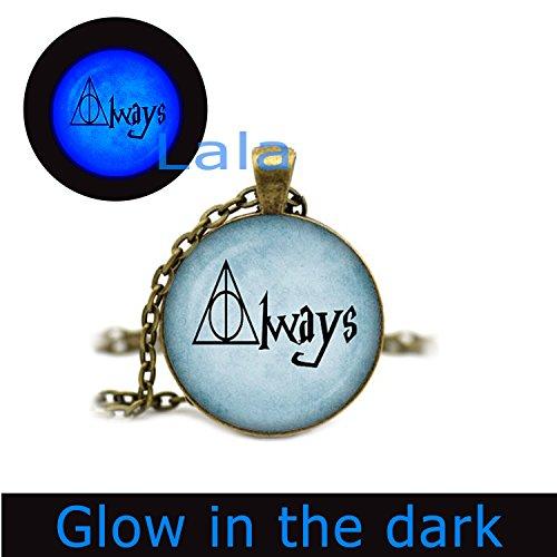 Glowlala@ Hp Always Glowing Necklace Glow in the Dark Necklace Harry Potter Always Glowing Pendant Harry Potter Glowing Jewelry (brass)