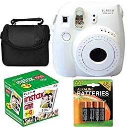 Fujifilm Instax Mini 8 Instant Film Camera (White) With Fujifilm Instax Mini 5 Pack Instant Film (50 Shots) + Compact Bag Case + Batteries Top Kit - International Version (No Warranty)