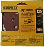 DEWALT DW4311 5-Inch 8 Hole 120 Grit Hook and Loop Random Orbit Sandpaper (25-Pack)