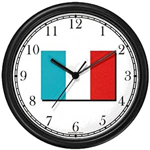 Flag of France - Tricolor No.2 Paris & France Theme Wall Clock by WatchBuddy Timepieces (Slate Blue Frame)