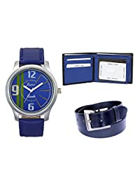 JAINX JCT001 BLUE COMBO OF WATCH+BELT+WALLET FOR MEN'S AND BOYS (blue)
