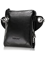 Teemzone Men's Genuine Leather Shoulder Cross Body Waist Bag (Black)