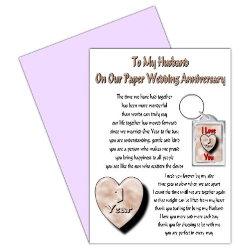 Husband 1st Wedding Anniversary Card With Removable Keyring Gift - 1 Year - Our Paper Anniversary