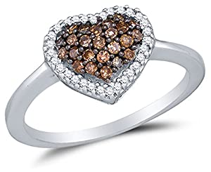 Size 9.25 - 10K White Gold Chocolate Brown & White Round Diamond Halo Circle Engagement Ring - Channel Set Heart Center Setting Shape (1/3 cttw.)