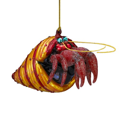 Noble Gems Glass Hermit Crab Ornament, 6-Inch