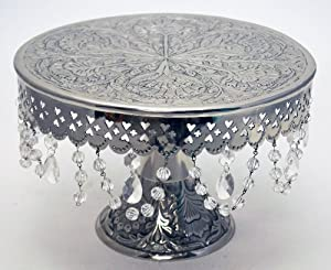 """GiftBay Wedding Cake Stand Round Pedestal Silver finish 16"""" with Clear Hanging Glass Crystals"""