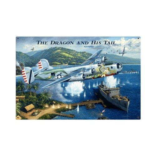 LARGE The Dragon Tail B-24 Liberator Military Vintage Metal Sign 36X24 Not Tin