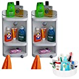 CiplaPlast Combo of Caddy Bathroom Corner Cabinet (Set of Two) & Multipurpose Container - White