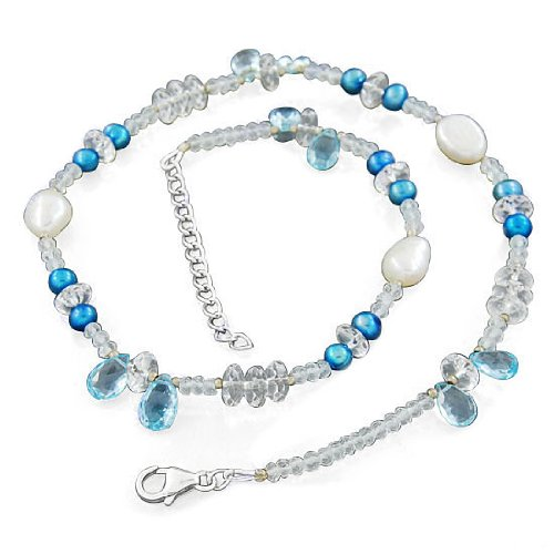 925 Sterling Silver White Topaz , Blue Topaz South Sea Pearl Natural Gemstone Finding Beads Strand Necklace Jewelry