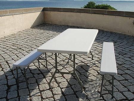 Mesa plegable banquetes mesa 1 (183 cm) + 2 de comedor plegable portátil juego de niños de fiesta para acampada