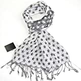 Fashion Star Scarf for Men and Women - Reversible cotton scarf - White, Khaki, Grey, Purple and Pink