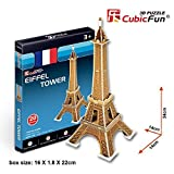 3d Puzzle Eiffer Tower France Cubicfun S3006h 20 Pieces Decorative Best Seller Exiting Fun Educational Historic Playing Building Game Holiday Kids Best Gift