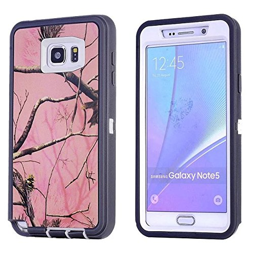 For Samsung Galaxy Note 5 Case - FiversTM Heavy Duty Case 3 in 1 Three Advantages Waterproof Dustproof Shakeproof Forest Camouflage Desig Cell Phone Cases for Samsung Galaxy Note 5 Tree- Pink
