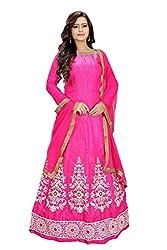 Priyanshu Creation Women's Satin Rani Pink Dress Material