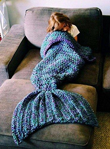CAMTOA マーメイドテール 可愛いブランケット ひざ掛け 昼寝毛布 ブランケット 毛布 厚いブランケット 手編みウール フリース毛布 暖かい 柔らかい 防寒 80cm*180cm グリーン