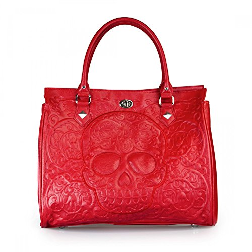 Loungefly Red on Red Lattice Skull Day of the Dead Tote Purse