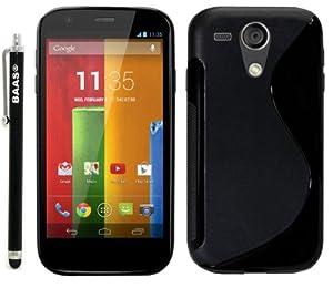 BAAS® Motorola Moto G - Noir S-Ligne Coque en gel silicone + Stylet + 3x Film de Protection d'Ecran