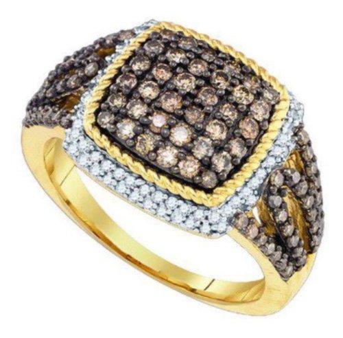 Price Comparisons 1.06 cttw 10k Yellow Gold Cognac Brown Diamond Engagement Ring (Sizes 3-11)