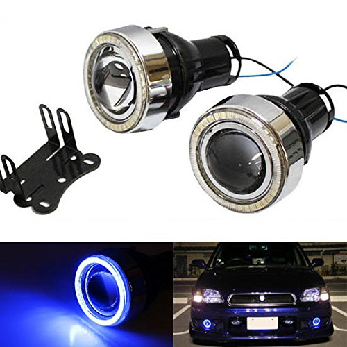 """Ijdmtoy Universal Fit 3"""" Projector Fog Light Lamps W/ 40-Smd Sparking Blue Led Halo Angel Eyes Rings For Any Car"""