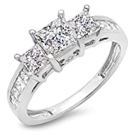 2.00 Carat (ctw) 14k White Gold Princess & Round Diamond Ladies Bridal 3 Stone Engagement Ring 2 CT