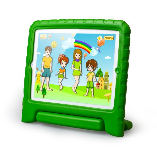 Mocreo(Tm) Ipad 2/3/4 Funcase Kido Series Light Weight Shock Proof Super Protection Kids Safety Convertible Freestanding Handle Tablet Case Cover Kids Gifts Kiddie Funny Cases For Apple Ipad 2/3/4 (Green) front-61035