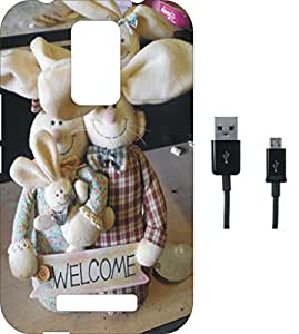 BKDT Marketing Printed Soft Back Cover Combo for Micromax Canvas Evok E483 With Charging Cable