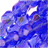 Czech Fire Polish Glass Beads 6mm Round Blue SAPPHIRE AB (25)
