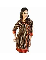 Jaipur RagaDesigner Jaipuri Print Red-Black Cotton Kurti Rajasthani Kurti