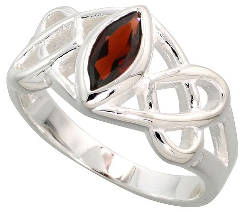 Sterling Silver Celtic Ring, w/ Marquise Cut Natural Garnet Stones, 3/8