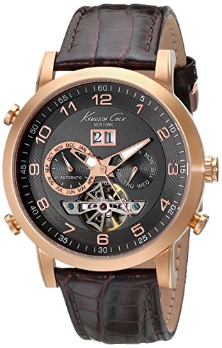 Kenneth Cole KC1957 44mm Automatic Stainless Steel Case Brown Calfskin Mineral Men's Watch