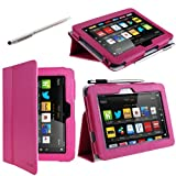 "i-BLASON Kindle Fire HD 7"" inch Tablet Leather Case Cover / Stylus (16GB WiFi) 3 Year Warranty (Margentta)"