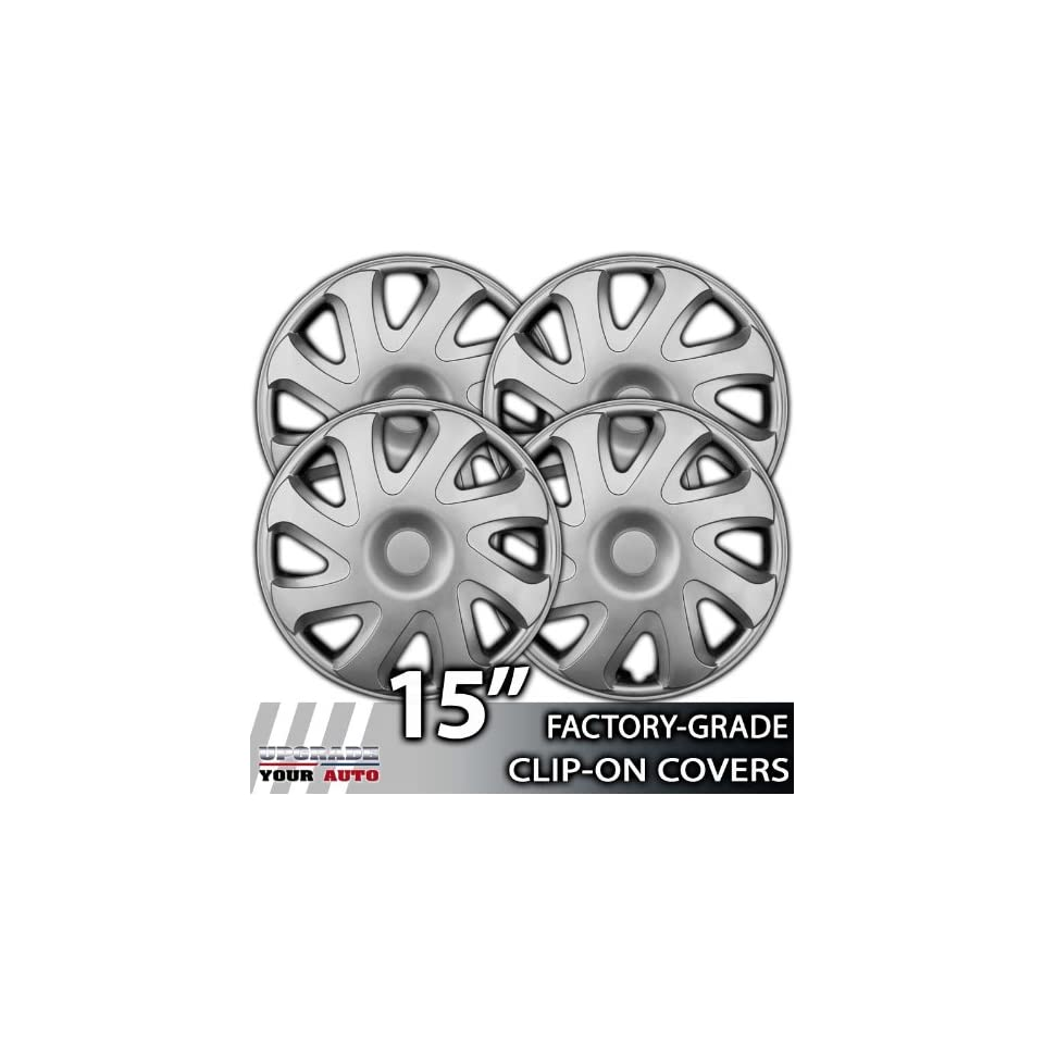 2000 2002 Toyota Corolla 15 Inch Silver Metallic Clip On Hubcap Covers