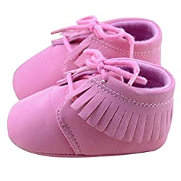 Voberry® Baby Girls Genuine Leather Soft Sole Shoes (3-6 months, Pink)