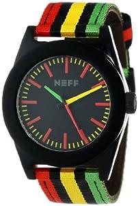 Neff Men's NF0213-rasta Stainless Steel Case Acetate Top Nylon Strap Watch