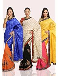 Parchayee Pack Of 3 Brasso Sarees