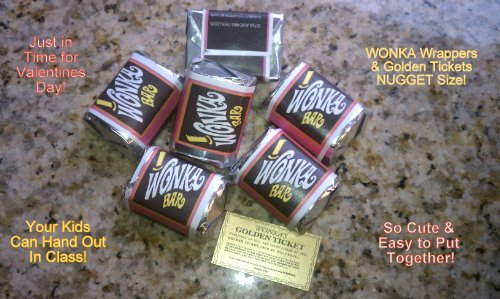 (30) NUGGET SIZED-WILLY WONKA CHOCOLATE BAR WRAPPERS & GOLDEN TICKETS-no chocolate included (Willy Wonka Bar compare prices)