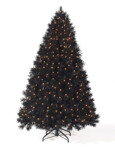 Christmas Tree Market™ Classy Black Artificial Christmas Tree, 9 Feet, Clear Lights
