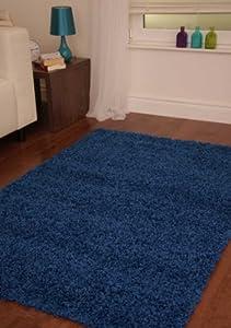 Dark Blue Luxury Shaggy Rug 5 Sizes Available from The Rug House