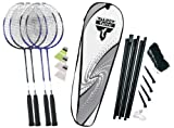 Talbot Torro 4-Fighter Premium 449517 Badminton Set with 4 Racquets, 3 Shuttlecocks and Net - Silver-Grey / White